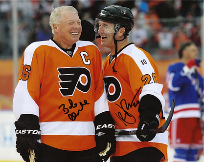 Bob Clarke Dave Poulin Philadelphia Flyers Captains signed 8x10 2011WC