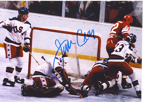 Jim Craig 1980 Olympic Hockey Miracle On Ice autographed 8x10 game save #1