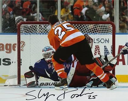 Shjon Podein autographed Philadelphia Flyers 2011 Alumni Game Goal 8x10 photo
