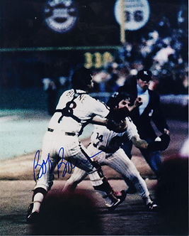 Bob Boone signed 1980 World Series Catch 8x10 with Pete Rose Game 6 #3