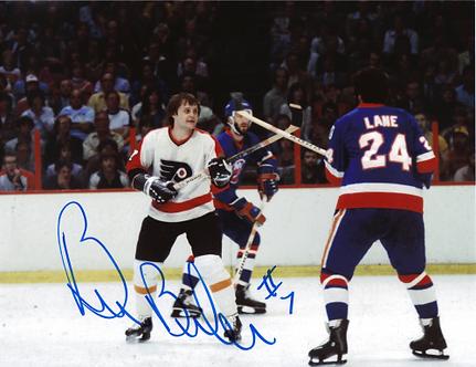 Bill Barber signed Philadelphia Flyers Gord Lane Rangers fight 8x10 HOF