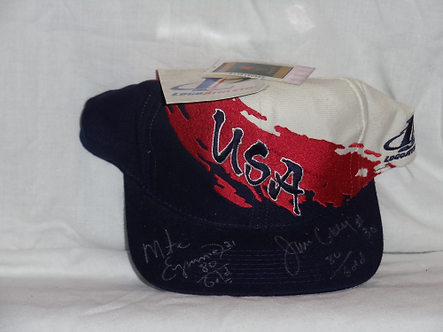 Mike Eruzione Jim Craig autographed USA hat DO YOU BELIEVE IN MIRACLES?