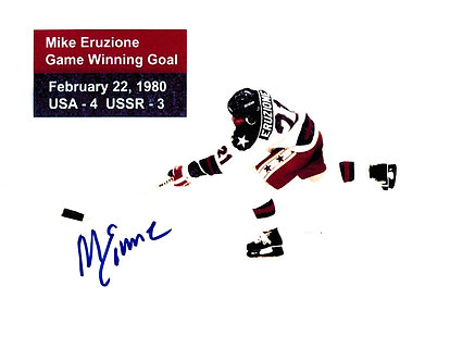 MIKE ERUZIONE USA MIRACLE ON ICE SIGNED STATS 8X10