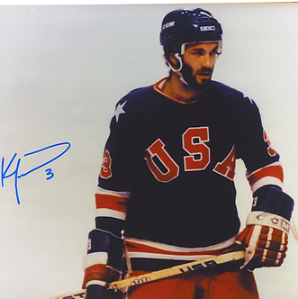 Ken Morrow autographed Miracle On Ice 8x10 color photo 1980 Olympic Ice Hockey