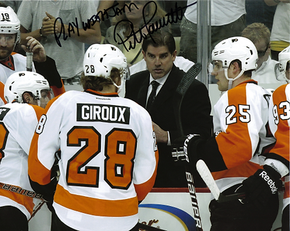 """Peter Laviolette Philadelphia Flyers autographed 8x10 """"PLAY WITH SOME JAM!"""""""
