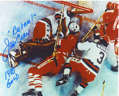 Jim Craig 1980 Olympic Hockey Miracle On Ice autographed 8x10 sprawling save #6