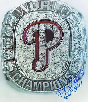 Pat Gillick autographed 2008 Philadelphia Phillies World Series Ring 8x10 photo