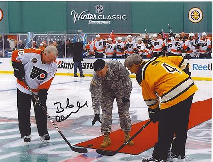 Bob Clarke autographed Winter Classic face off 8x10 Bobby Orr Bruins