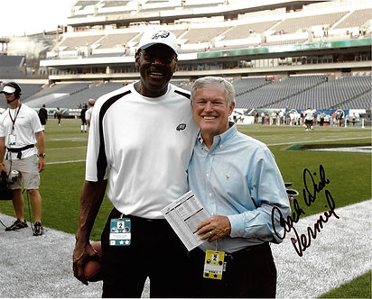 DICK VERMEIL EAGLES SIGNED 8X10 WITH HAROLD CARMICHAEL