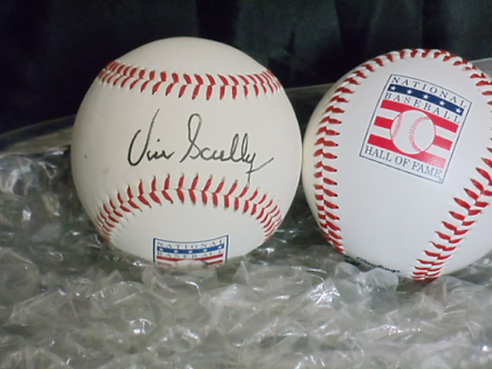 """Vin Scully """"Voice of the Dodgers"""" signed Cooperstown Hall of Fame baseball #2"""