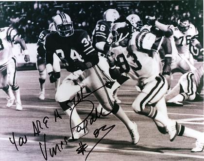 Vince Papale Philadelphia Eagles signed black and white action 8x10 vs Patriots