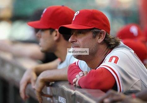Jamie Moyer Phillies 2008 World Series bench photo