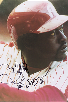 "Gary Mathews ""The Sarge"" autographed Phillies action 8x10 photo"