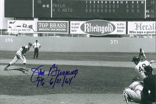 Jim Bunning Philadelphia Phillies signed perfect game 8x10 with inscription