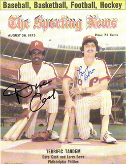 Larry Bowa Dave Cash Phillies dual signed Sporting News 8.5x11 photo
