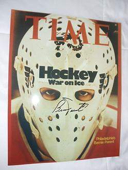 Bernie Parent Philadelphia Flyers signed 11x14 TIME magazine cover WAR ON ICE