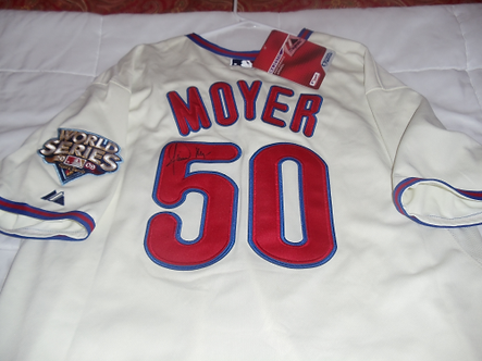 Jamie Moyer autographed Philadelphia Phillies 09 jersey WS patch