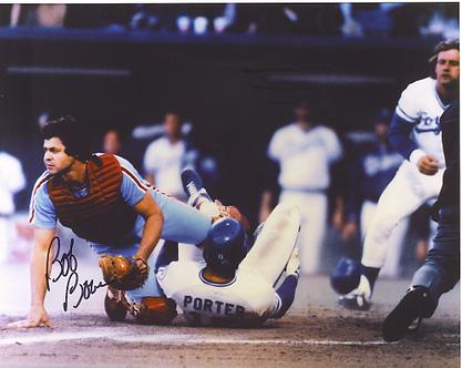 Bob Boone Philadelphia Phillies signed 1980 World Series action 8x10 #2