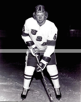 BILL BAKER USA MIRACLE ON ICE GOLD MEDAL B&W PHOTO