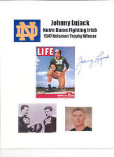 JOHNNY LUJACK AUTOGRAPHED 8.5X11 PHOTO HEISMAN TROPHY NOTRE DAME FIGHTING IRISH
