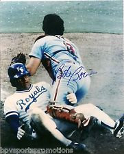 BOB BOONE SIGNED 1980 PHILLIES WORLD SERIES HOME PLATE TAG 8X10 PHOTO #2