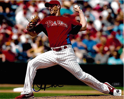 CLIFF LEE PHILLIES SIGNED 8X10 GAI CERTIFIED