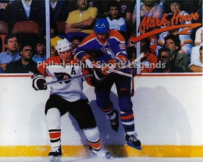 Mark Howe Philadelphia Flyers 8x10 checking Wayne Gretzky Oilers