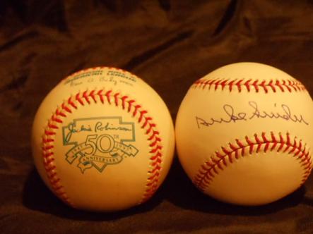 Duke Snider Los Angeles Brooklyn Dodgers signed Jackie Robinson 75th Anniversary