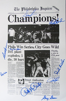 1980 Philadelphia Phillies 9 signed 11x17 Inquirer Champions poster