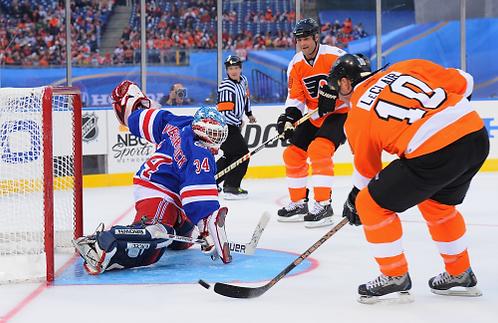 John LeClair Philadelphia Flyers 2011 Winter Classic Alumni goal 8x10 photo