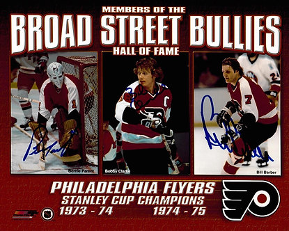 FLYERS HOF SIGNED BROAD ST BULLIES 8X10 CLARKE PARENT BARBER
