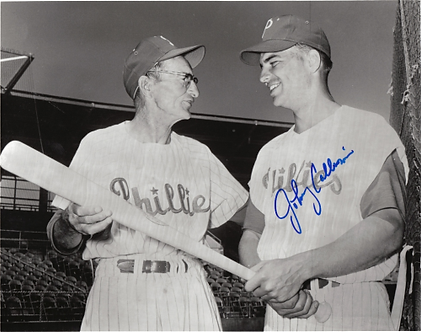 Johnny Callison autographed 1964 Phillies black and white 8x10 photo