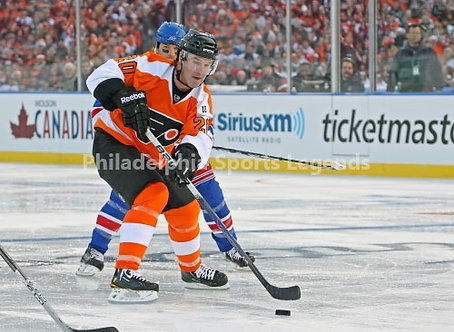 Dave Poulin Philadelphia Flyers Winter Classic action 8x10 #2 photo