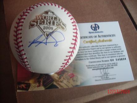 Ryan Howard autographed 2008 World Series Baseball Philadelphia Phillies GAI