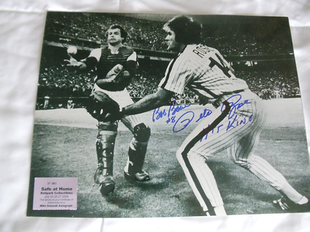 Pete Rose Bob Boone signed 1980 Phillies World Series Bobble Catch 11x14