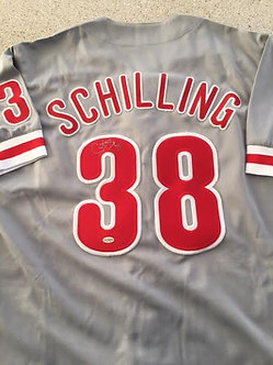 CURT SCHILLING PHILADELPHIA PHILLIES SIGNED JERSEY LEAF AUTHENTICATED