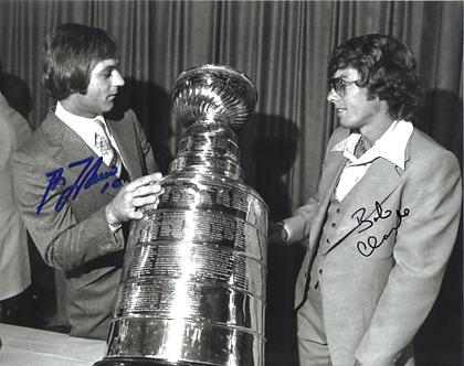 Bob Clarke Flyers Guy LaFleur Canadians dual signed Stanley Cup 8x10