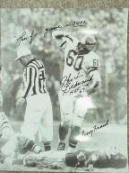 Chuck Bednarik signed standing over Frank Gifford 11x14 1960 Eagles vs Giants