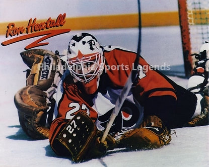 Ron Hextall Philadelphia Flyers sprawling save 8x10 photo #1