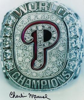 Charlie Manuel signed 2008 Philadelphia Phillies World Series Ring 8x10 photo