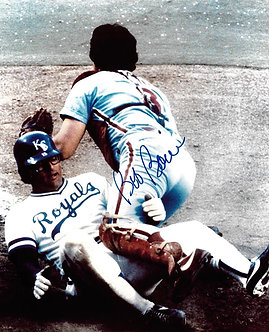BOB BOONE SIGNED 1980 WORLD SERIES HOME PLATE COLISION 8X10