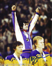 MIKE ERUZIONE MIRACLE ON ICE AUTHENTIC AUTOGRAPHED 8X10 PHOTO GOLD MEDAL PODIUM