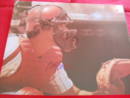 Bob Boone Phillies autographed 11x14 1980 World Series catching photo #2