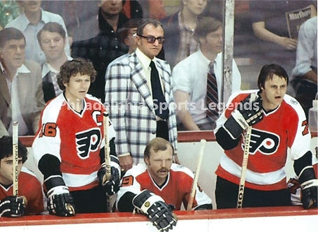 Bob Clarke Bill Barber Fred Shero Flyers Broad Street Bullies bench 8x10 photo