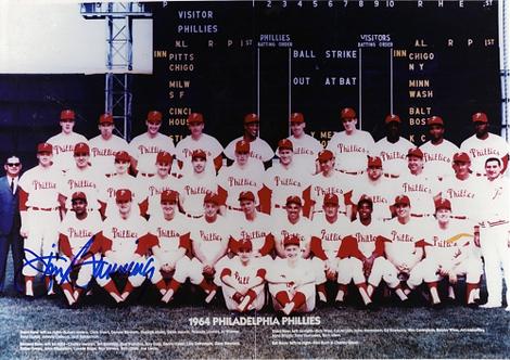 Jim Bunning signed 1964 Philadelphia Phillies 8x10 team photo