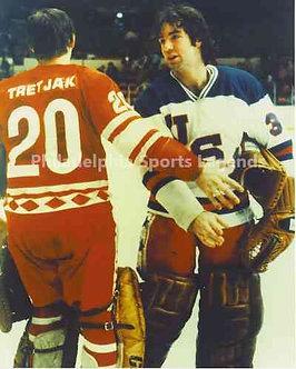 Jim Craig Vladislav Tretiak 1980 Olympic Hockey unsigned photo RARE