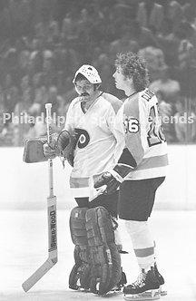Bob Clarke Bernie Parent Philadelphia Flyers vintage Broad Street Bullies 8x10