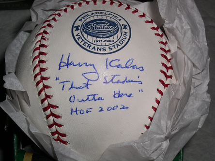 """Harry Kalas Philadelphia Philles signed Vet Stadium Ball """"That Ball's Outta Here"""