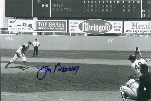 Jim Bunning Philadelphia Phillies signed Fathers Day perfect game 8x10