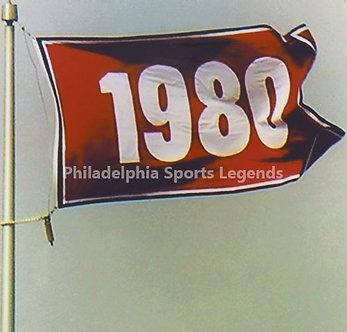1980 Philadelphia Phillies World Series Championship Flag 8x10 photo